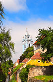 Belfry of church Maria Himmelfahrt, Durnstein, Austria — Foto Stock