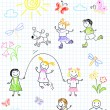 Happy friends, playing outdoors — Stock Vector