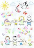 新生児での幸せな家族 — ストックベクタ