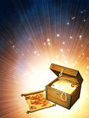 Wooden box with treasures — Stock Photo