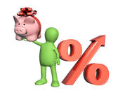 3d puppet with piggy bank and percent symbol — Stock Photo