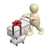 Alışveriş sepeti ve hediyeler ile tüketici — Stok fotoğraf