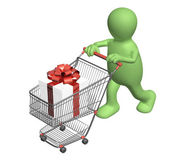 Consumer with shopping cart and gifts — Stock Photo