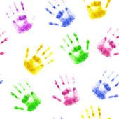 Seamless background with prints of human hands — Stock Photo