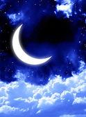 Bright moon in the night sky — Stock Photo