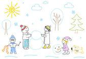 Happy family sculpts snowman — Stock Photo