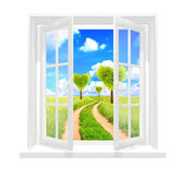 Window and heart shape trees — Stock Photo