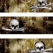 Collection of banners with human skulls and bones — Stock Photo