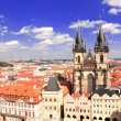 Old Town Square, Tyn Church, Prague — Stock Photo