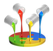 Parts of puzzles and paints — Stock Photo