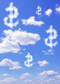 Dollar symbol from clouds  — Stock Photo