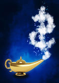 Magic lamp and dollar symbol — Stock Photo