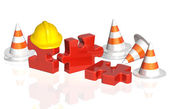 Road cones, part of puzzle and hat — Stock Photo