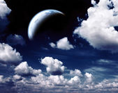 Night sky and planet — Stock Photo
