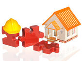 Parts of puzzle and house — Stock Photo