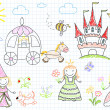 Vector sketches with happy princesses — Stock Vector #50586023