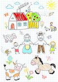 Happy children with grandparents  — Stock Vector