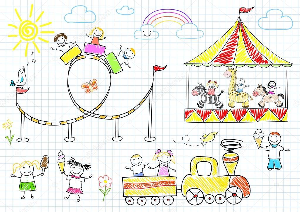 Детский рисунок каруселей