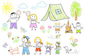 Happy family in camping — Stock Photo