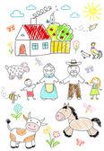 Happy children with grandparents  — Foto Stock