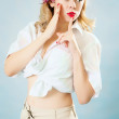 Pin-up young blonde woman — Stock Photo
