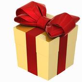 Christmas Present (box) with Bow — Zdjęcie stockowe