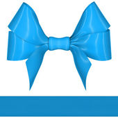 Blue ribbon bow on white background — Stock Photo