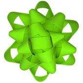 Green ribbon bow on white background — Stock Photo