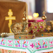 Royalty-Free Stock Photo: Two beautiful wedding crowns in church
