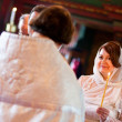 Happy bride is listening to priest during orthodox wedding cerem — Stock Photo