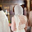 Bride and groom during orthodox wedding ceremony — Stock Photo