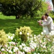 Happy just married couple kissing in park — Stock Photo