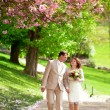 Stock Photo: Beautiful newlywed couple having stroll in park at spring