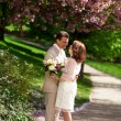 Bride and groom in park at springtime — Stock Photo #12013112