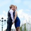 Young loving couple in Paris near beautiful fountain with view t — Stock Photo #12013334