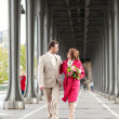 Wedding in Paris. Happy newlywed couple walking together just af — Stock Photo