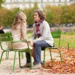 Romantic couple in Paris at fall, having a date — Stock Photo #12018607