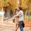 Romantic couple having a date in the Tuilleries garden of Paris — Stock Photo