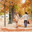Romantic couple in Paris, having a date at fall — Stock Photo