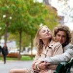 Happy romantic couple in Paris — Stock Photo