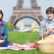 Happy young couple having a picnic near the Eiffel Tower — Stock Photo