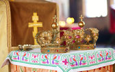 Two beautiful wedding crowns in church — Stok fotoğraf