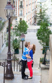 Happy together in Paris, on Montmartre — Stock Photo