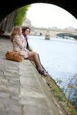 Romantic couple in Paris, having a date — Stock Photo