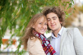 Romantic couple in Paris at spring, having a date — Stock Photo