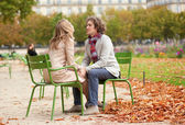 Romantic couple in Paris at fall, having a date — Stock Photo