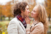 Romantic couple having a date at fall — Stock Photo