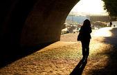 Girl walking in Paris at early morning — Stock Photo