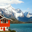 Stock Photo: Lake house. Hotel Pehoe on the shore of Pehoe lake in Tprres del