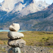 Stock Photo: Stone stack in Torres del Paine national park of Chile